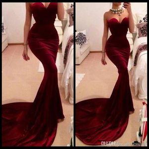 2020 여성 긴 기차 장착 부르고뉴 와인 벨벳 이브닝 드레스 Vestidos 섹시한 부르고뉴 공주 댄스 파티 드레스 파티 드레스