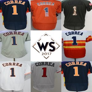 Hombre para mujer niños Houston 1 Carlos Correa Jersey WS Patch Blue Flag Green Gris Orange Rainbow Flex / Cool Base Steins Baseball Jerseys