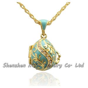 Wholes joyería de alta calidad de las mujeres de estilo ruso árbol de hoja de cristal huevo de Pascua colgante collar medallón mano esmalte regalos del Día de Pascua
