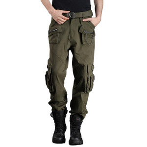 Wholesale- Freeknight Asual Army Green More Than Men's Pants Pockets Loose Men's Pants Overalls Outdoor Army Fan Pants