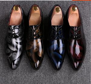 Los hombres visten los zapatos de boda Shadow Charol Luxury Fashion Party Party Shoes Los hombres Zapatos Oxford 38-48 Male Casual Flats