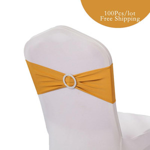 100PC Wedding Spandex Chair Bands Bow Lycra Elastic Chair Sashes Band with Round Diamond Ring for Wedding Banquet Birthday Party Chair Decor