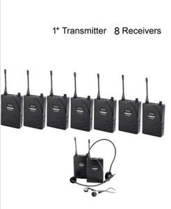 Nuevo Hot Takstar UHF-938 Enseñanza Inalámbrica Entrenamiento Visita Guía Turística Sistema de Turismo al por mayor 1 Transmisor + 8 Receptores Más Barato