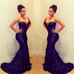 Dark Navy Sequined Mermaid Prom Dresses 2019 Sweetheart Backless Sweep Train Long Arabic Evening Party Gowns Maid Of Honor