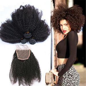 Cabelo humano brasileiro Afro Kinky encaracolado com fecho de renda afro kinky encerramento cheio de renda com pacotes de cabelo 4 pçs / lote