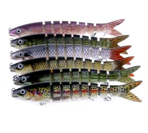 Hot Fly Pêche au gros leurre 8 segments appâts durs 13.6cm 19g en plastique ABS poisson simulation multi-section des basses profondes plongée Crankbaits