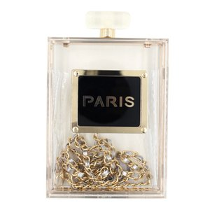 Wholesale-Women Fashion Perfume Bottle Shape Day Clutch Acrylic Evening Bag Printed Paris Day Clutch Party Wedding Day Clutch Bag XA207D