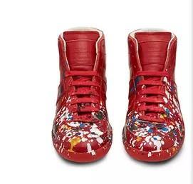 Botas para hombre y para mujer Zapatillas de diseñador de la marca Kanye West High Top Patente de cuero genuino Casual Zapatillas de deporte planas 38-47 con estuche