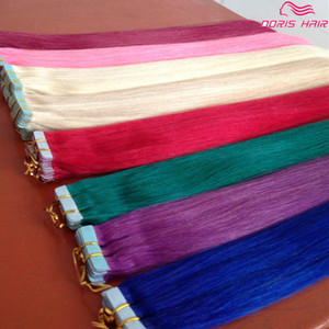 2016 NOVA cabelo brasileiro fita peruana Extensões de Cabelo humano forte azul fita adesiva 20 pcs rosa vermelho para a moda mulheres Extensões de Cabelo