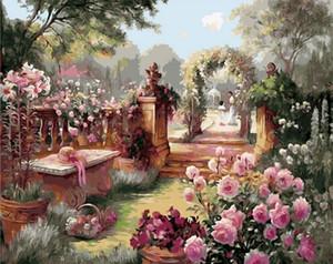 Çerçeveli saf El Peyzaj Sanat Yağ Royal Garden Boyama boyadı. Yüksek Qudlity Tuval Ev Wall Art Dekor Mulitiple Boyutları On