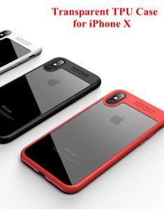 Прозрачный ТПУ чехлы для iPhone Xs Max Xr мягкий противоударный броня Case прозрачный акриловая задняя крышка Defender Case для iPhone 7 8 Plus