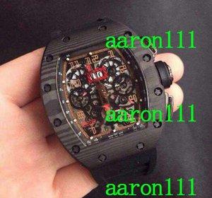 Marca de fibra de carbono de aço inoxidável ETA 7750 Swiss marca RM011 Felipe Massa Flyback luxo automático relógio cronógrafo de borracha Mens relógios de pulso