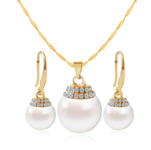Bridal Jewelry Set Wedding Fashion Crystal Rhinestone Pearl Necklace pendants Earring Pearl Girls Women Bridesmaid Party Jewelry Sets