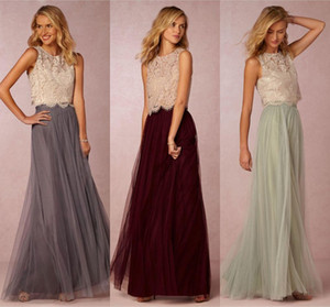 2020 Two Vintage Pieces Tulle Vestidos dama de honra Lace Top Curto Ruched até o chão Blush Mint Grey Borgonha Prom Party Vestidos Custom Made