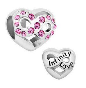 Rhodium plaqué cristal rose pavé Infinity Love perle famille européenne charme pour Pandora style DIY Bracelet