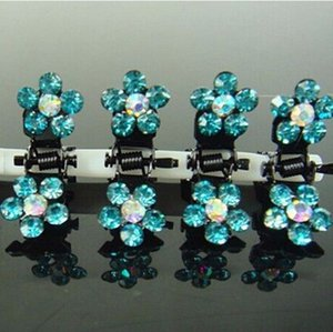 120PCS Mujer azul / rojo / blanco flores de cristal Mini garra del pelo de la abrazadera del clip del Pin Accesorios Tiaras Presilha De Cabelo pelo para las chicas