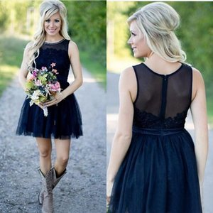 New Popular 2016 Navy Blue Short Country Bridesmaid Dresses Cheap Hot Sale Jewel Pearls Lace And Tulle Maid Of Honor Gowns Custom EN101013