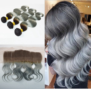 Brazilian Silbergrau Ombre Haar mit Spitze Frontal Closure 4Pcs Lot 10A Körper-Welle # 1B / Grau Zwei Ton-brasilianisches Haar 3Bundles Mit Stirnseite
