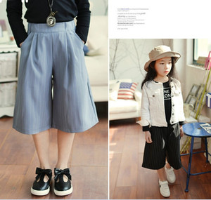 New Kids Girl Loose 3 4 Long Stripe Summer Fashion Pant Children Girl Casual 5Pcs lot K7286