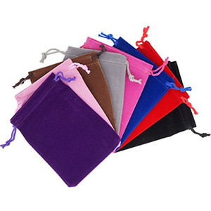 mix color Soft Velvet Jewelry Pouches Rings Necklace Earrings Stud Bracelets Bangle Gift Drawstrings Packaging Bags 5x7cm7x9cm10x12cm12x15cm