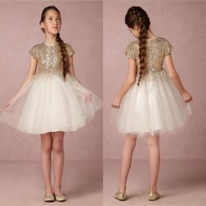 Bhldn 골드 스팽글 결혼식을위한 반팔 꽃의 소녀 드레스 저렴한 Pageant 가운 보석 목 어린이 동성애 복장 아이의 정장 착용