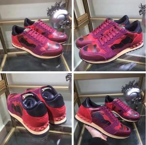 2017 Perfeito Rock Runner Camuflagem Sapatilhas De Couro Sapatos Homens, Mulheres de Luxo Estilo Rock Studs CAMURARES Ao Ar Livre Formadores Casuais SHOES 36-46