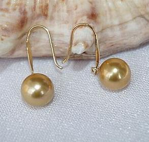 Charmingh pair of south sea 9-10mm gold pearl earring 14k gold
