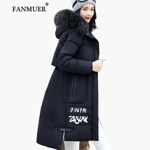 All'ingrosso-Fanmuer 2017 donne giacca invernale cappotto di pelliccia con cappuccio donna abbigliamento giacche donna lungo cotone parka jaqueta femminile