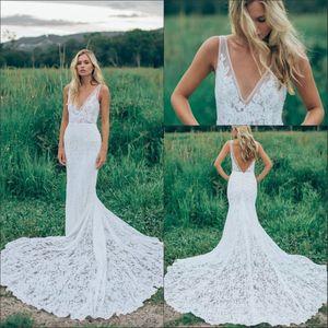 2020 Cheap Summer Beach sirène robes de mariage de Bohème de dentelle col en V Cour train sexy dos ouvert Formal sirène Taille Plus Robes de mariée