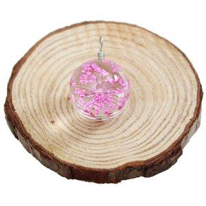 Flor del encanto de la moda Flores secas de cristal Precioso Natural Flor seca orgánica Declaración de cristal para el collar pendiente Pulsera