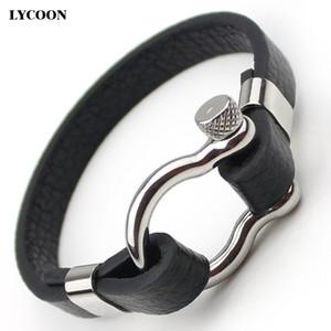 티타늄 강철 D 매듭 나사 터프 커프 팔찌 스테인레스 세련된 정품 가죽 팔찌 남자 패션 클래식 디자인 시계 손목 팔찌