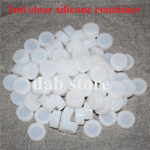 100% FDA 3 ml recipiente de silicone claro, anti-aderente claro silicone jar para cera ou cosméticos, armazenamento de concentrado de silicone para o transporte livre