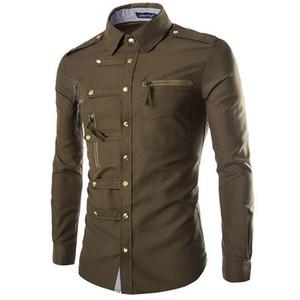 Atacado-Hot estilo para recomendar o novo 2016 crime manga longa camisas Inglaterra temperamento cultivar a moralidade zipper mais camisas.