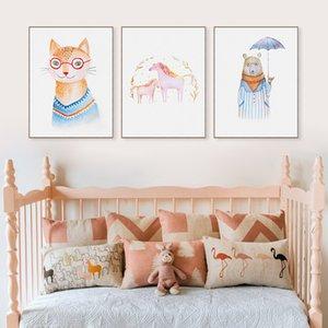 Karikatür Hayvanlar Sevimli At Kedi Ayı Tuval A4 Sanat Baski Poster Duvar Resim Boyama Hiçbir Çerçeve Modern İskandinav Çocuk Odası Ev Dekor