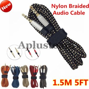 3.5mm Male Stereo Unbroken Metal Fabric Braiede Audio Cable 1.5M 3M Auxiliary AUX Extension for iphone Samsung MP3 Speaker Tablet PC