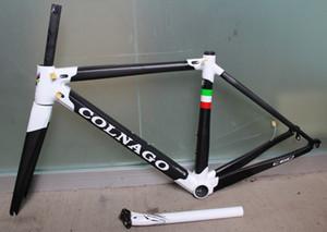 Noir mat et blanc brillant avec logo blanc Cadre de vélo de vélo de route Frameset C60 en carbone pour vélo de carbone Colnago c60 avec BB386 XS-S-M-L-XL
