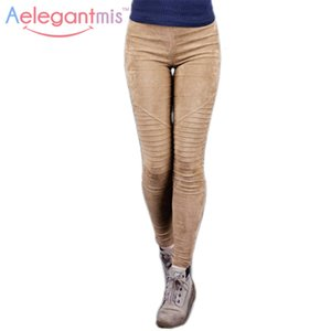 Al por mayor-Aelegantmis Faux Suede Leggings Sexy Skinny Pencil Pants Mujeres 2017 Primavera Slim Stretch plisado elástico de cintura alta pantalones Ladies