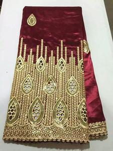 5 Yards / Los Luxus Goldsequins Dekoration Spitze mit Wein afrikanischen george Spitzenstoff für Parteikleidung OG40-1