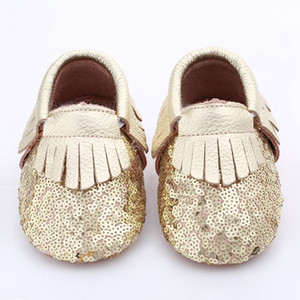 Free Fedex UPS Baby fringe sequin moccs 50pairs 2016 infant gold yellow silver moccasins soft leather moccs toddler booties 10colors choose