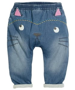Baby Jeans Super Soft Cats Cartoon PP Harlan Jeans Girls Cartoon Cat Applique Denim Pants Kids Clothes