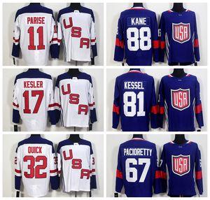 Equipo 2017Hockey Usa World Cup Jerseys Azul Blanco 88Patrick Kane Us Jersey 32Jonathan Quick 67Max Pacioretty 81Pil Kessel 30Ben Bishop