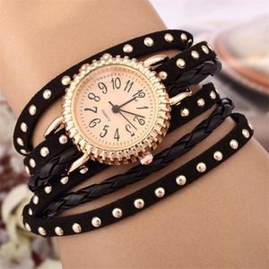 무한대 팔찌 스트랩이 달린 고급 쿼츠 시계 여성용 캐주얼 손목 시계, 여성용 리벳 가죽 팔찌, 여성 액세서리, 7 색
