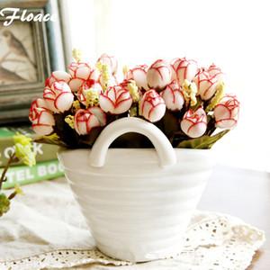 Floace blanco jarrón de porcelana conjunto de flores artificiales Qq rosa flor florero de cerámica conjunto decoración de Navidad