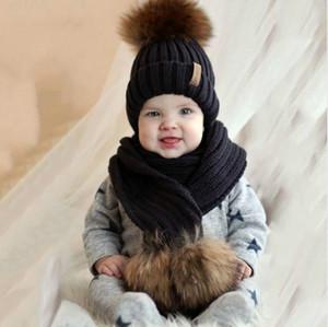 Дети в возрасте 2-14 зима теплая коренастый толстые вязать шапочки шляпы и шарфы реального меха Пом Пом шляпа шарф набор для ребенка