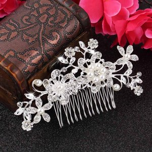 Wholesale-1pc Floral Wedding Tiara Sparkling silver plated Crystal simulated pearl Bridal Hair Combs Hairpin Jewelry Hair Accessories New