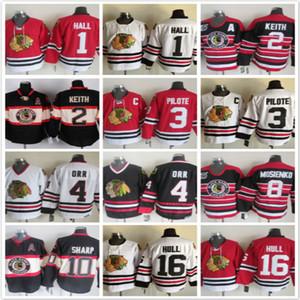 Vintage Chicago Blackhawks 1 Glenn Hall 2 Duncan Keith 3 pilotos 4 Orr 8 Mosienko 10 Afiada 16 Bobby Hull Vermelho Hóquei No Gelo Jerseys