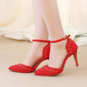 Sandales d'été pour femmes bout pointu strass Pearl Wedding Shoes Chaussures de mariée magnifiques avec sangles de cheville blanc rouge et rose