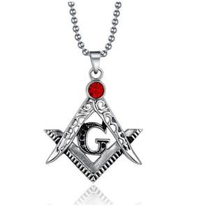 Масон масонский символ красный драгоценный камень кулон Nencklac ретро Рубин кулон металлический кулон Шарм ожерелье ювелирные изделия DHL