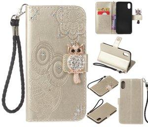 Custodia in pelle portafogli in diamante con slot per schede per iPhone X 8 7 6 più 5 s Custodia in pelle per caso con Samsung S8 Plus Note 8