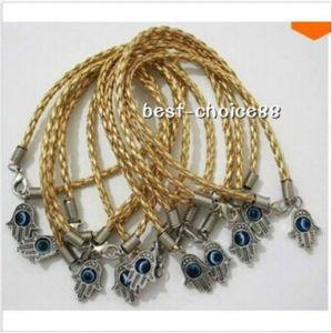 100 Pcs HAMSA MAIN Evil Eye String Bracelets Breloques Chanceux Pendentif Cordon En Cuir CHAUD